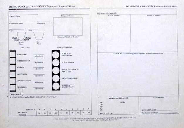 D&D Basic Set - Character Sheet
