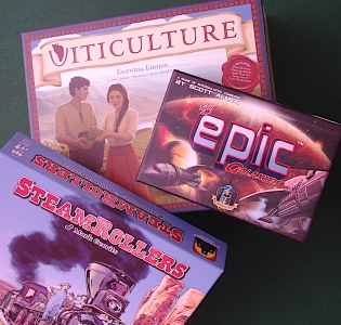 Viticulture; Tiny Epic Galaxies; Steamrollers